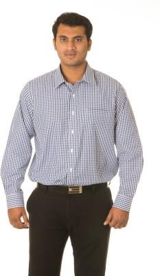 West Vogue Men's Checkered Formal Blue Shirt