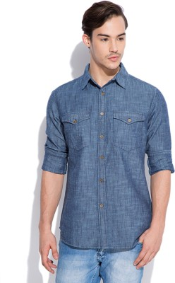 Silly People Men's Solid Casual Blue Shirt