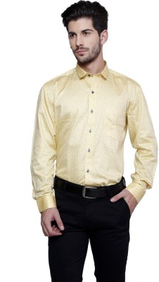 Miche Jeffer Men's Printed Casual Yellow, Blue Shirt