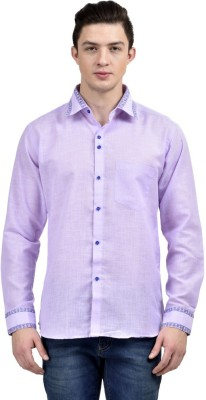 Future Plus Men's Self Design Casual Purple Shirt