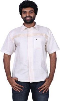 Karlsburg Men's Embroidered Casual Gold, Silver Shirt