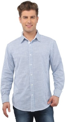 The Cotton Company Men's Striped Casual Blue, White Shirt