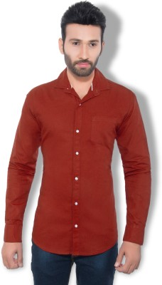 One Sphere Men's Solid Casual Maroon Shirt