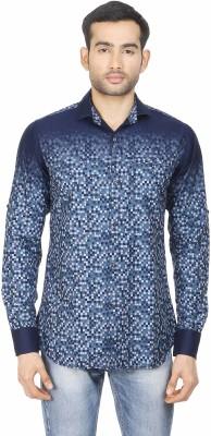 Human Steps Men's Printed Casual Blue Shirt