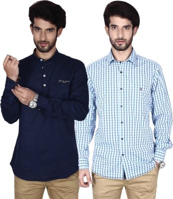 Brecken Paul Men's Checkered Casual Black, Light Blue, Blue Shirt