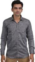 Scissors Formal Shirts (Men's) - Scissor's Men's Geometric Print Formal Black Shirt
