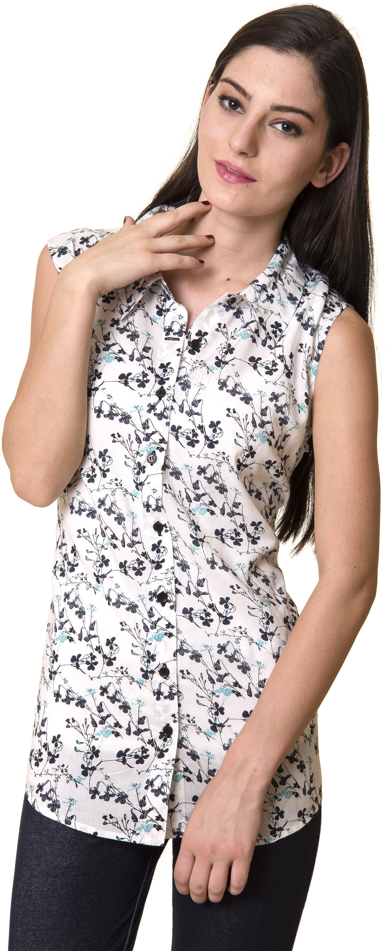 Rute Womens Floral Print Casual White Shirt