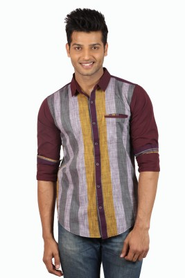 Le Tailor Men's Striped Casual Maroon, Yellow Shirt