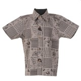 Le Luxe Boys Printed Casual Brown Shirt