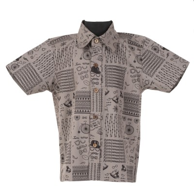 Le Luxe Boy's Printed Casual Brown Shirt
