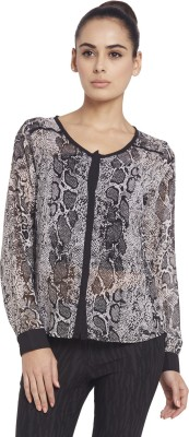 Globus Women's Printed Casual Black Shirt