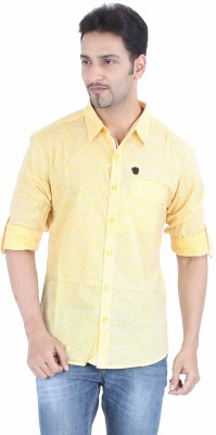 Spykar Men's Printed Casual Yellow Shirt