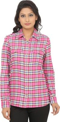 Addyvero Women's Checkered Casual Pink, White Shirt