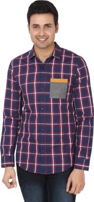 Suchos Men's Checkered Casual Dark Blue Shirt
