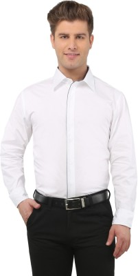 The Cotton Company Men's Solid Casual White Shirt