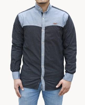 Yzade Men's Printed Casual, Party Black Shirt