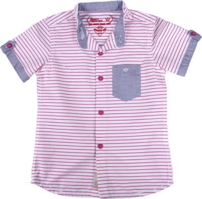 Einstein Boy's Striped Casual Pink, White Shirt