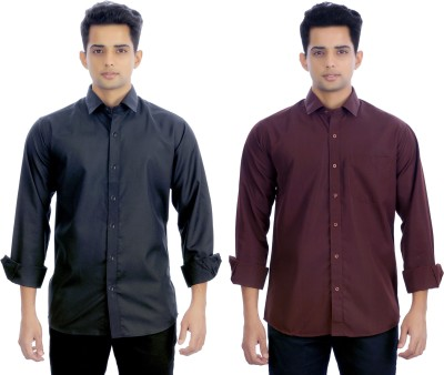 Atmosphere Men's Solid Formal Black, Brown Shirt