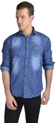 Anry Men's Printed Party Denim Blue Shirt
