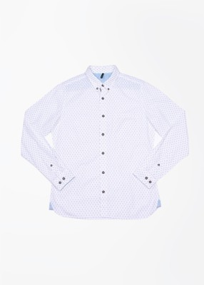 United Colors of Benetton Men's Printed Casual White, Blue Shirt