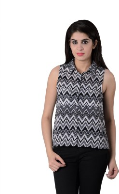 House of Tantrums Women's Printed Casual Black, White Shirt