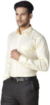 Warewell Men's Solid Formal Yellow Shirt