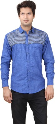 REFUEL SPORT Men's Printed Casual Denim Blue Shirt