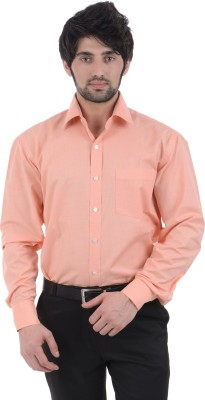 Burdy Men's Solid Formal Orange Shirt