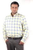 Riparv Men's Checkered Formal Yellow Shi...