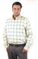 Riparv Formal Shirts (Men's) - Riparv Men's Checkered Formal Yellow Shirt