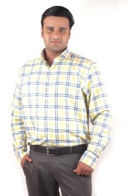 RIPARV Men's Checkered Formal Yellow Shirt