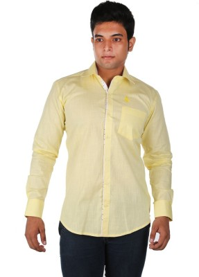 Relish Men's Solid Casual Yellow Shirt