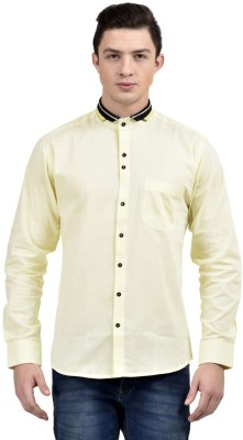 Future Plus Men's Self Design Casual Light Green Shirt