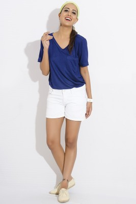 IDK Casual Short Sleeve Solid Women's Blue Top