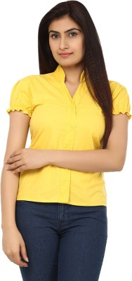 TeeMoods Womens Solid Casual Yellow Shirt