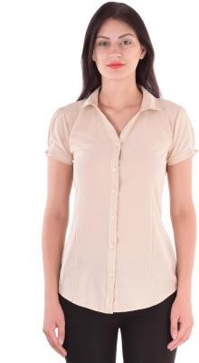 cutemad Women's Solid Formal Beige Shirt
