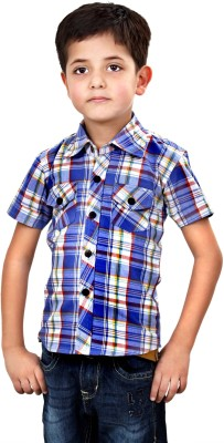 MagPie Boy's Checkered Formal Multicolor Shirt