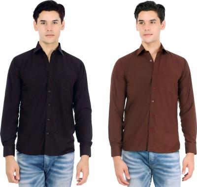Atmosphere Men's Solid Casual Black, Brown Shirt