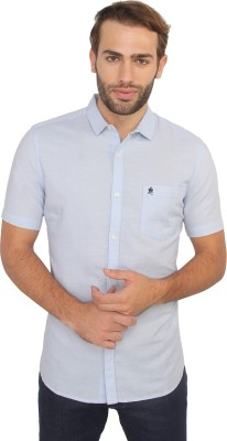 French Connection Men's Solid Casual Blue Shirt