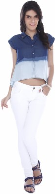 Miss Pink Women's Solid Casual Blue Shirt