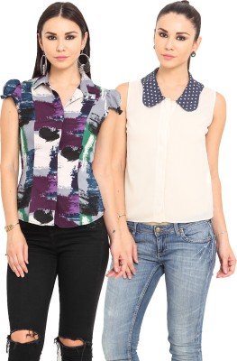 MSMB Women's Printed Casual Multicolor, Blue Shirt