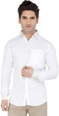 LinoLin Men,s Solid Casual Linen White Shirt