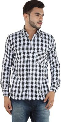 FDS Men,s Checkered Casual White, Black Shirt