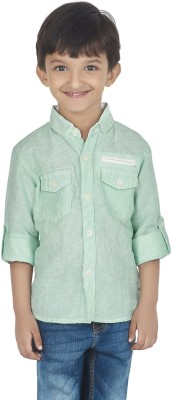 SuperYoung Boy's Striped Casual Green Shirt