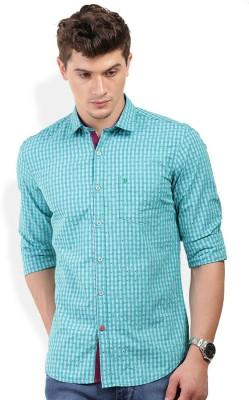 PAN VALLEY Men's Self Design Casual Green Shirt