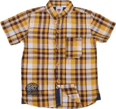Ice Boys Boy's Checkered Casual Yellow Shirt