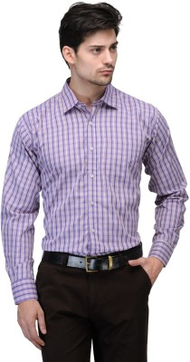 Vicbono Men's Checkered Formal Purple Shirt