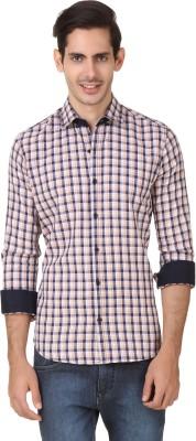 Smithsoul Men's Checkered Casual Beige, Dark Blue Shirt