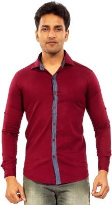 Trinath Men's Self Design Casual Maroon Shirt