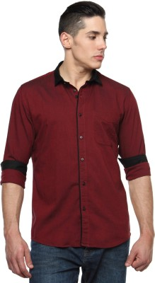 British Club Men's Solid Casual Maroon Shirt